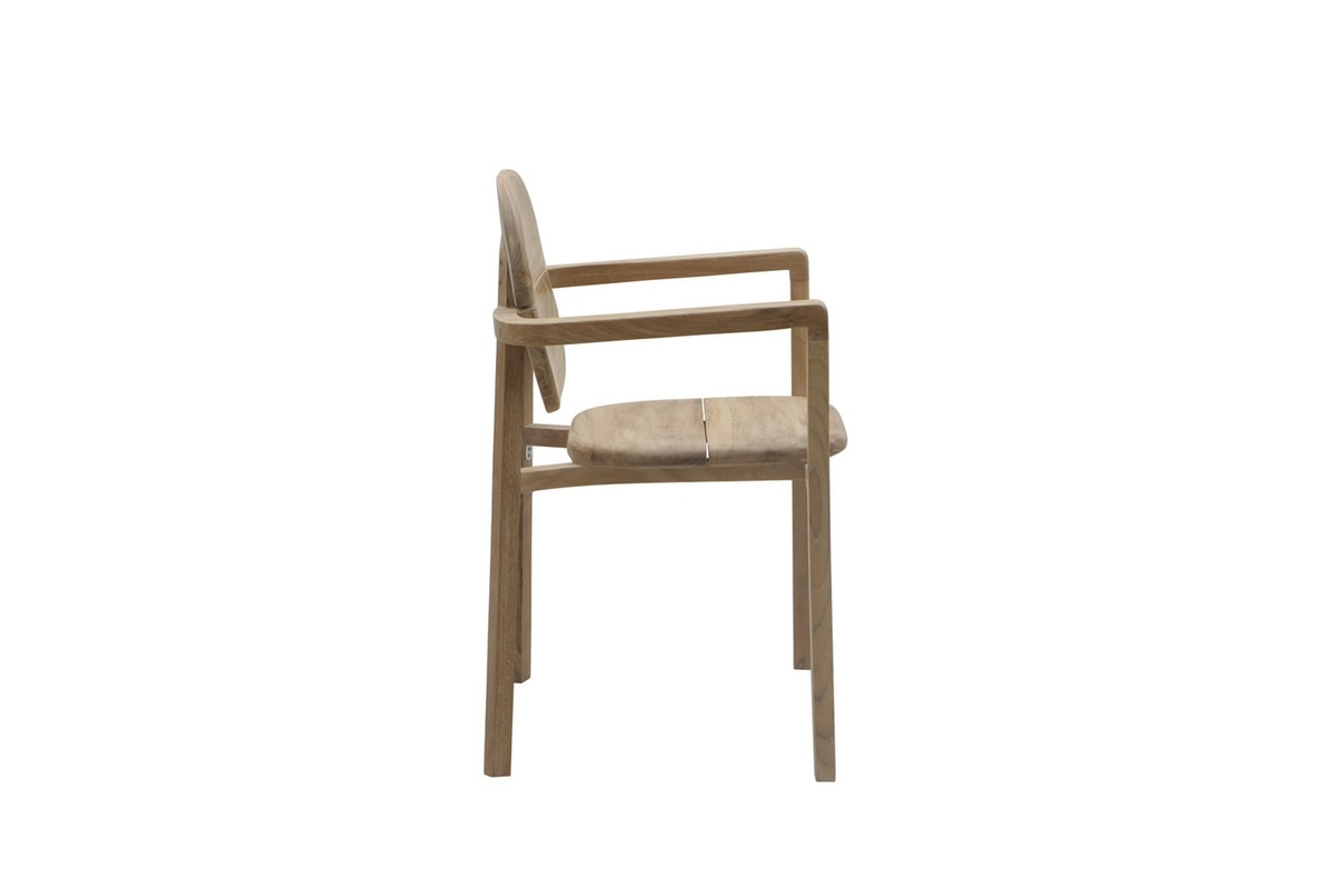 Pebbles 0361, Stackable outdoor chair, made of teak wood
