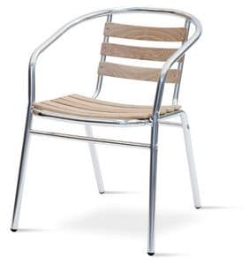 PL 410, Chair with armrests in aluminum and teak, for outdoor
