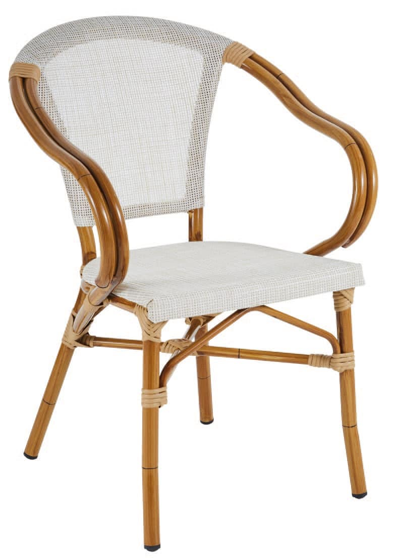 PL 420, Chair in aluminum and textilene, in bamboo style