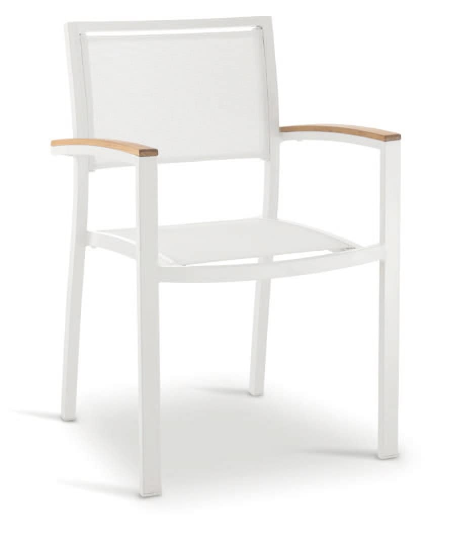 PL 465, Chair with armrests, in aluminum, wood and textilene