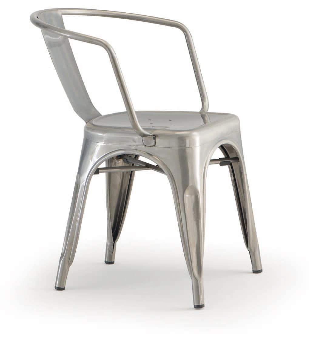 PL 500 / EST, Stackable chair with armrests, in painted metal
