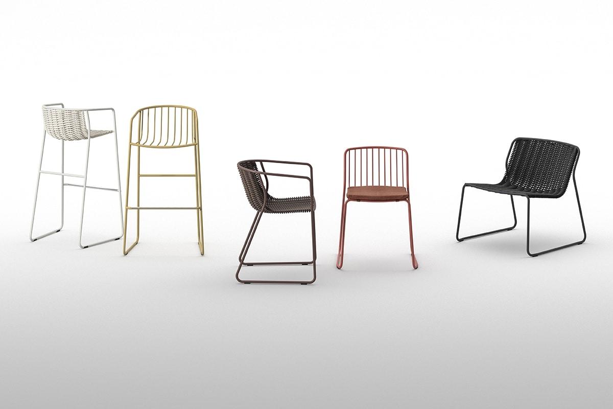 Randa nude, Stackable chair in painted steel