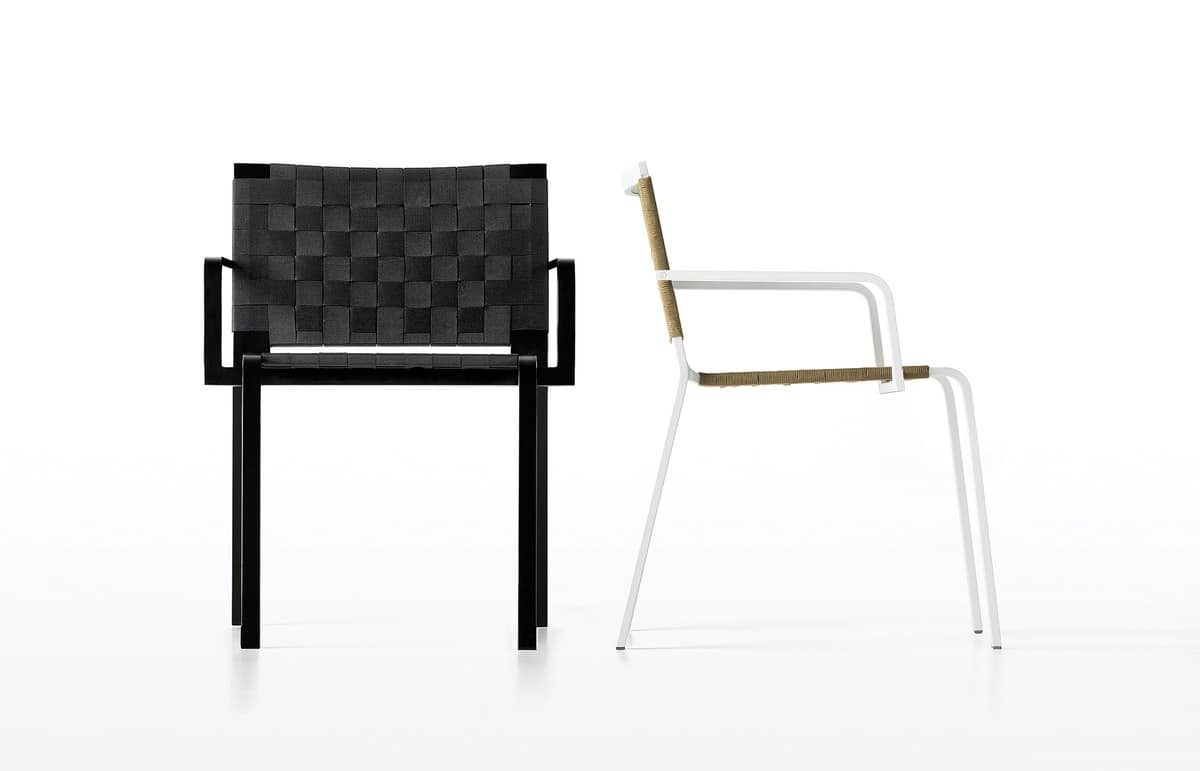 Rest, Aluminum chair with seat in polyester, for external