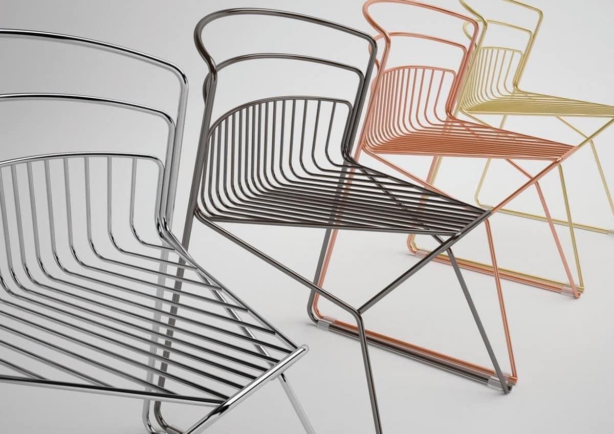 Ribelle chair, Chair entirely in steel rod, for indoor and outdoor use