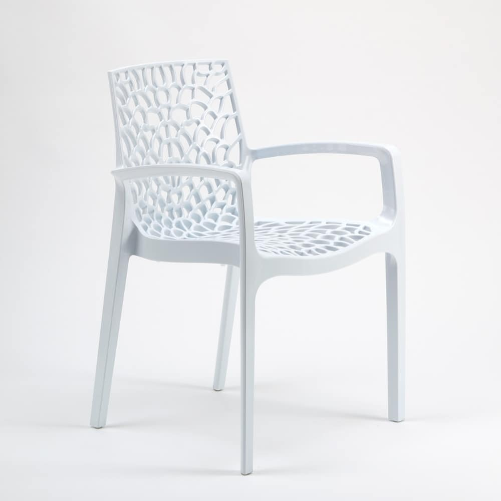 Outdoor garden stackable chair Gruvyer Arm – S6626B, Stacking chair with armrests, made of glossy plastic, for indoor and outdoor