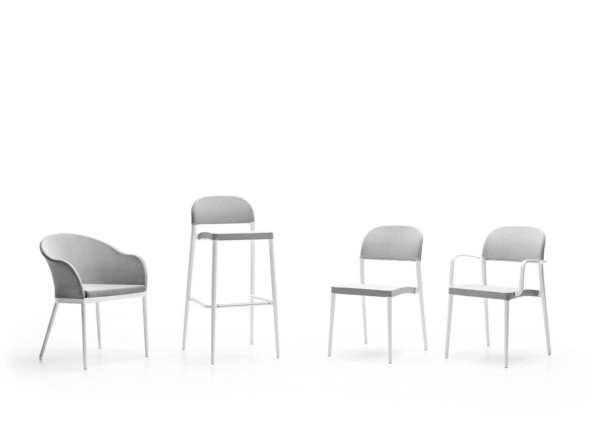 Saia chair with arms, Outdoor chair with armrests, aluminum perforated fabric