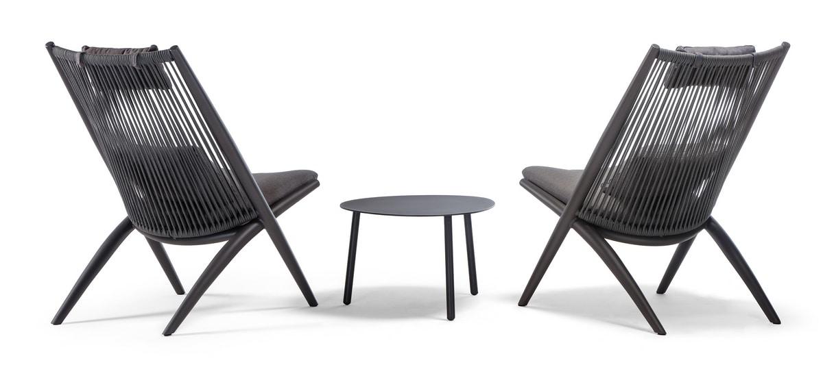 Santa Cruz, Outdoor chair in aluminum and rope