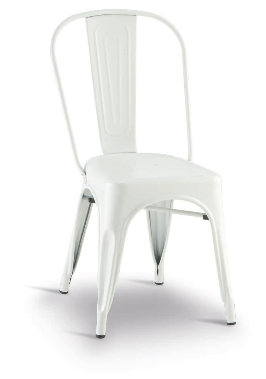 SE 500 / EST, Stackable chair in galvanized and painted metal