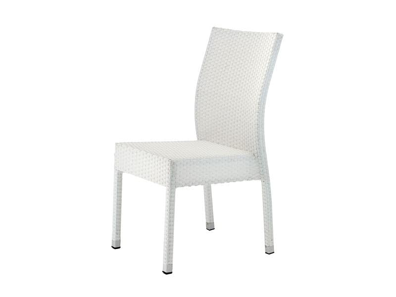 SE 900, Stackable chair in aluminum and PVC, for gardens