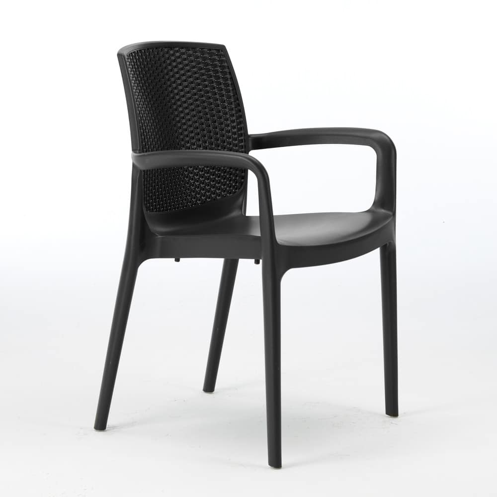 Sedia impilabile con braccioli esterno rattan – S6618, Chair of high quality resin, stackable, for outside