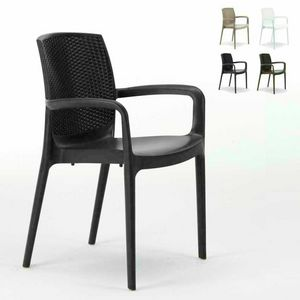 Sedia impilabile con braccioli esterno rattan � S6618, Chair of high quality resin, stackable, for outside