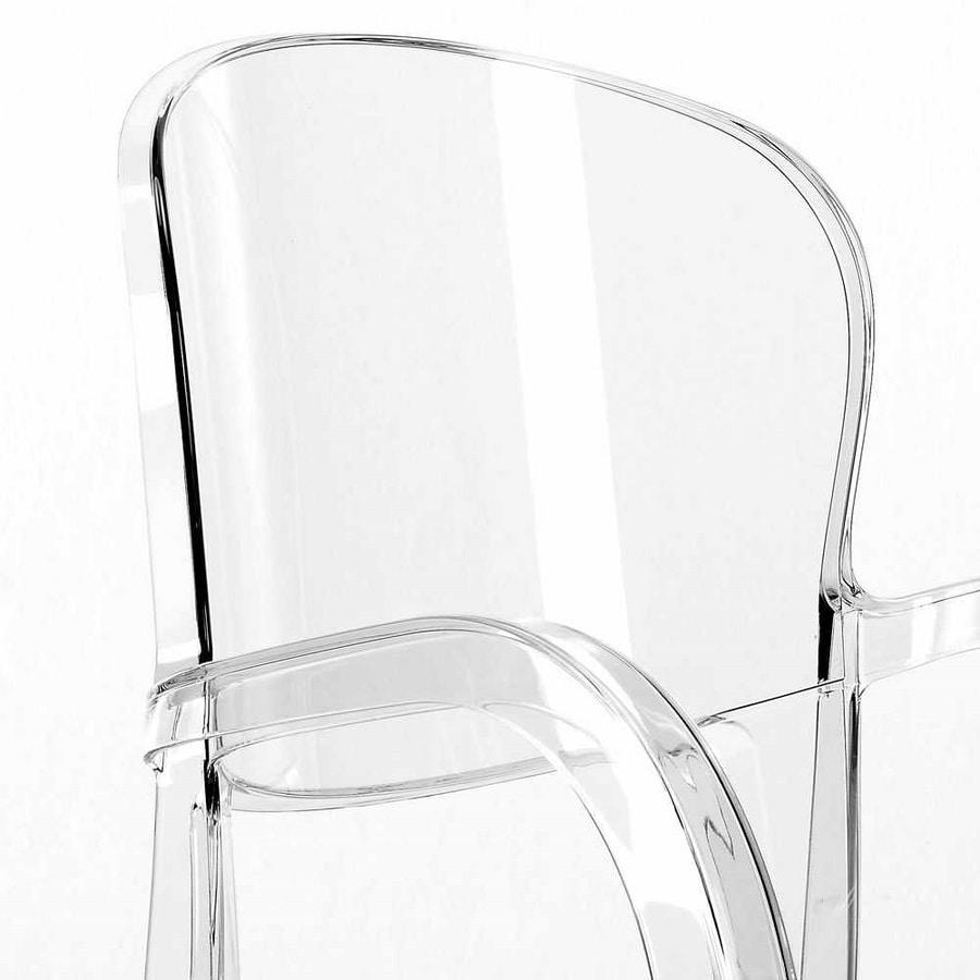 Sedia trasparente cucina bar Joker – S6612TR, Chair with armrests, made of transparent polycarbonate