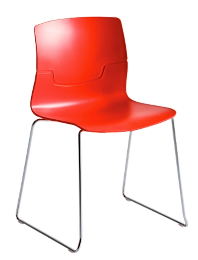 Slot Fill S, Design chair with sled base in chrome metal