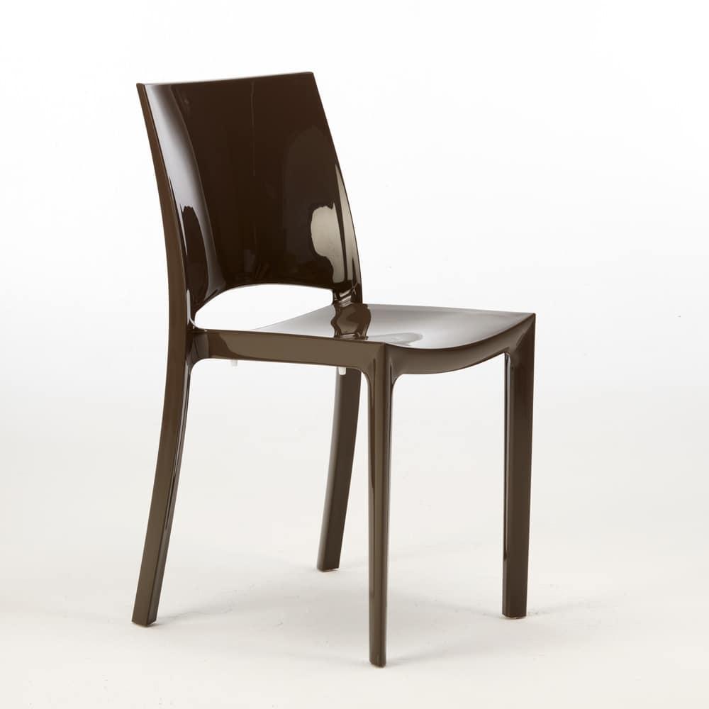 Stackable polypropylene chair Sunshine - S6215, Stackable chair in polypropylene, certified, for outdoor