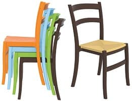 Telma, Plastic chair, in different colors, for outdoor bar