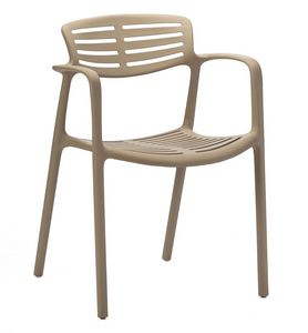 Teresa, Chair with polypropylene armrests for indoor and outdoor use
