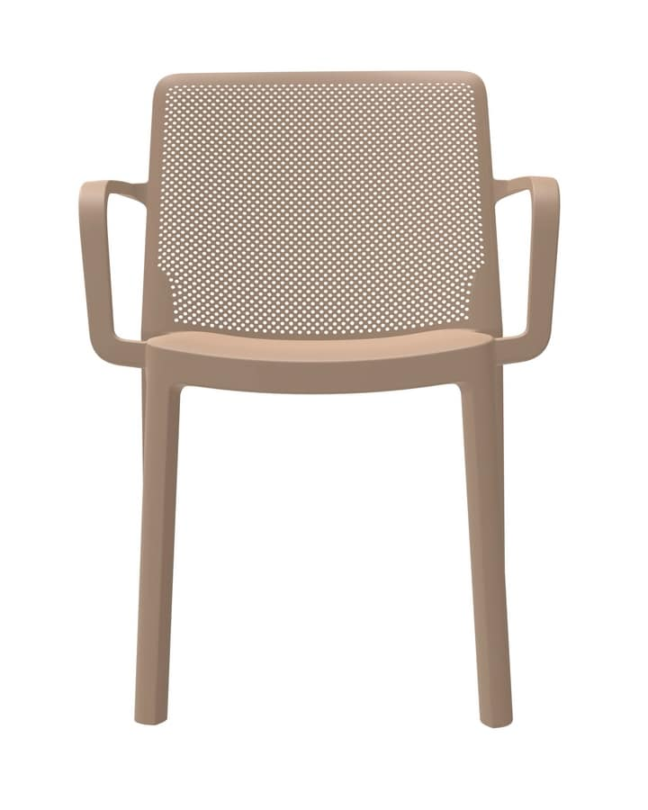 Traforata - P, Outdoor chair with armrests, stackable, in polypropylene