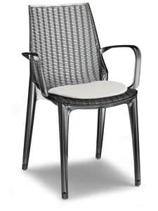 Tricot, Modern chair made of polycarbonate, stackable, for gardens