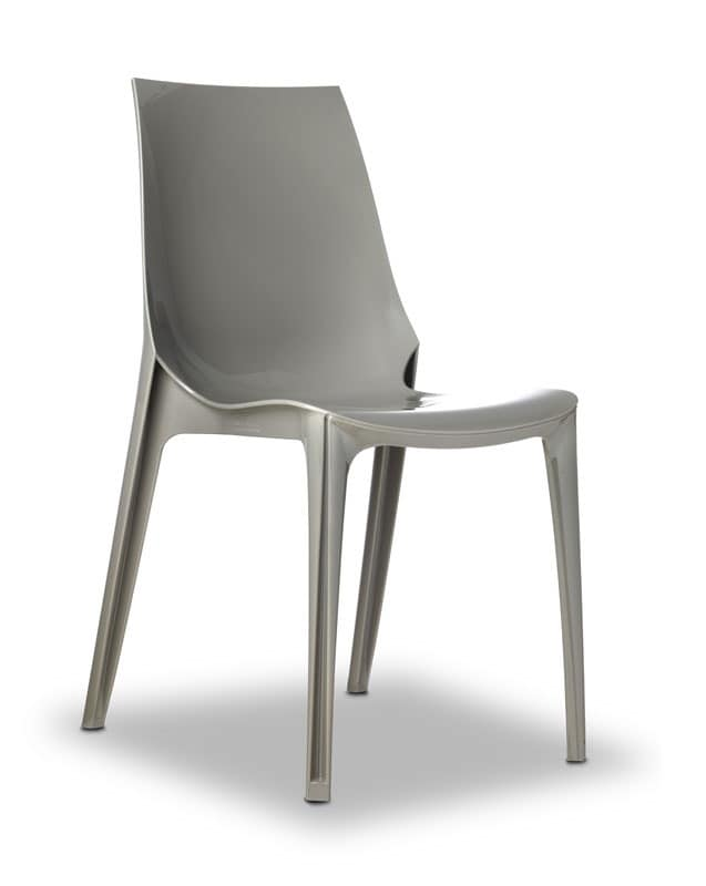 Vanity chair, Design chair in polycarbonate, stackable, also for garden