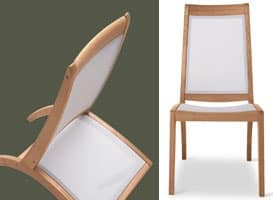 Wave side chair - textilene, Chair in wood and plastic, for outdoor use