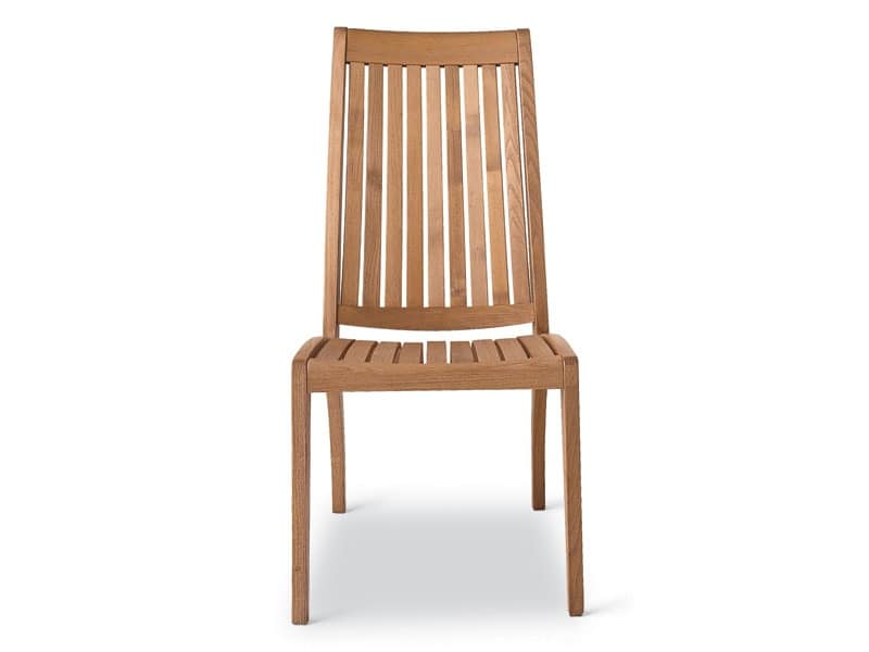 Wave side chair, Resistant wooden chair, backrest with vertical slats