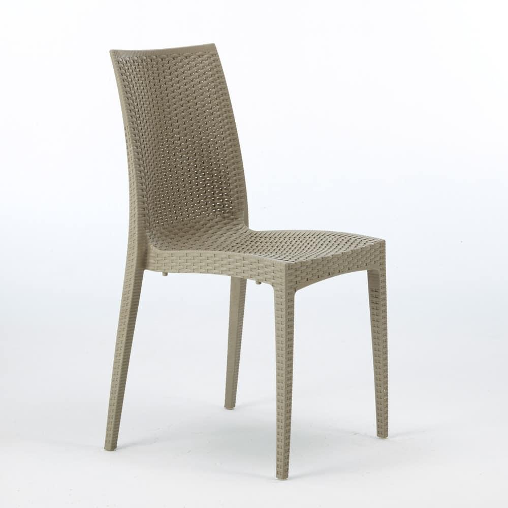 Woven resin chair Bar Garden – S6380, Woven rattan chair, stackable, certified EN