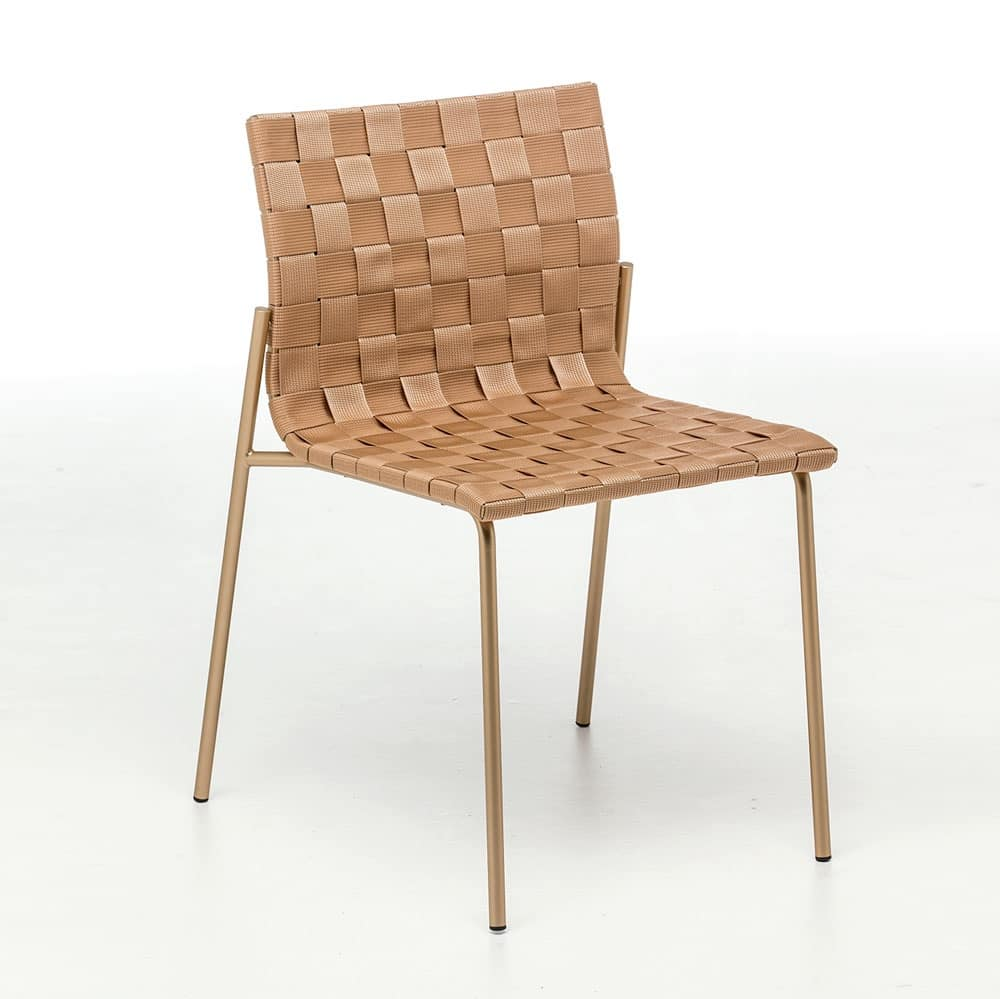 Zebra, Steel chair with interwoven polypropylene, also for outdoors