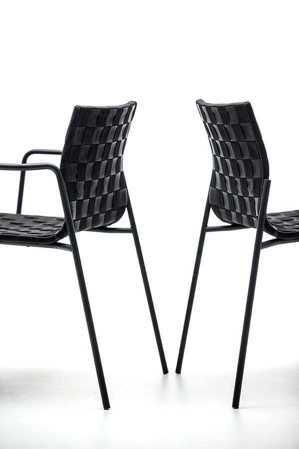 Zebra AR, Outdoor chair with armrests, shell woven with polyprophylene belts