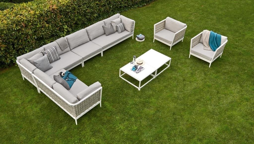 Algarve modular sofa, Modular sofa, aluminum base, hand-woven