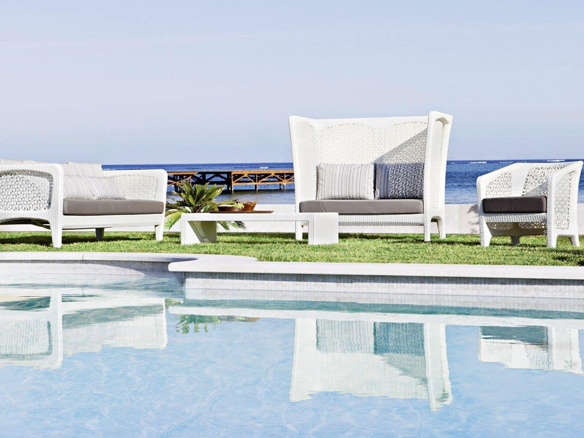 Altea sofa, Large outdoor sofa, with synthetic fiber weaving