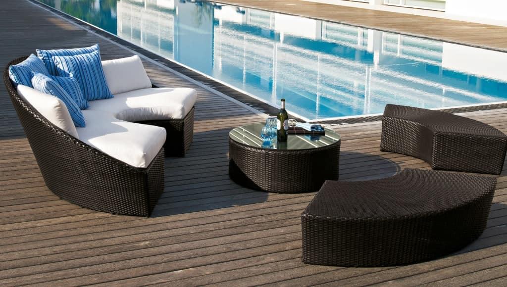 Arena semi-circular sofa, Semi-circular sofa, woven, for outdoor use