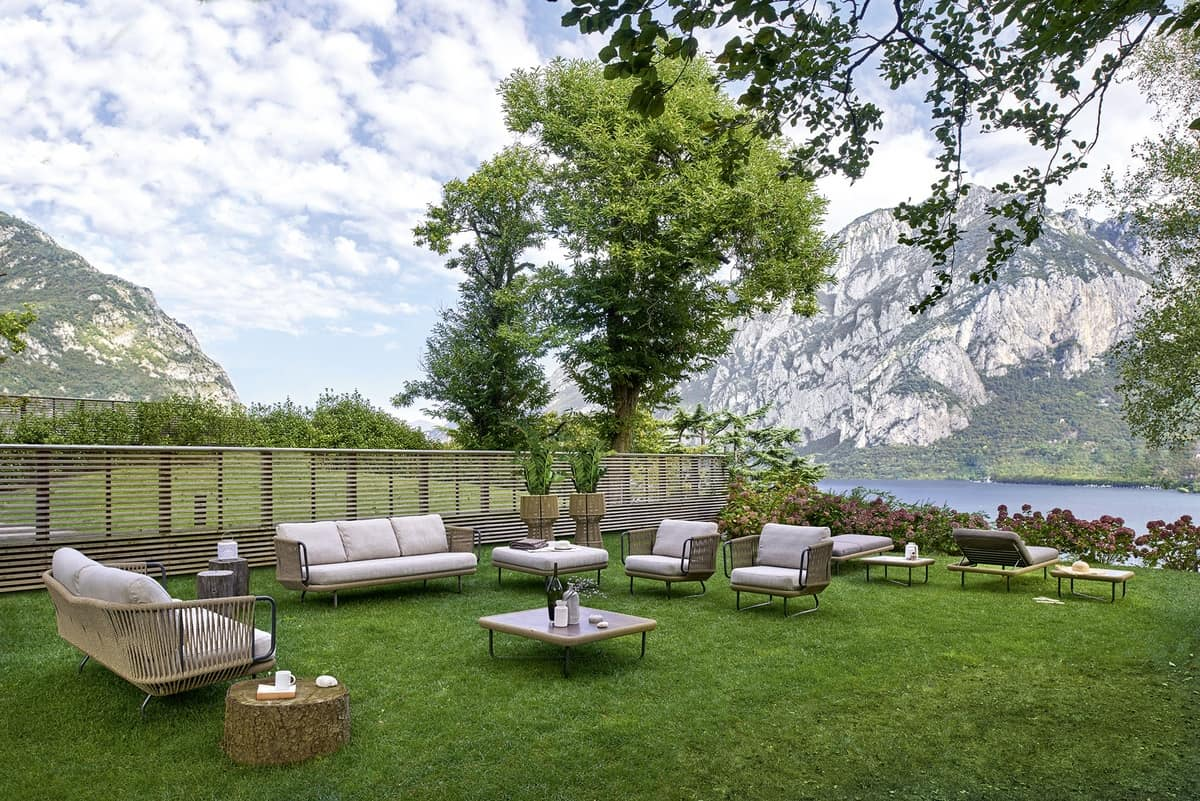 Babylon sofa 3p, Sofa 3 places in aluminum and synthetic rope, for external