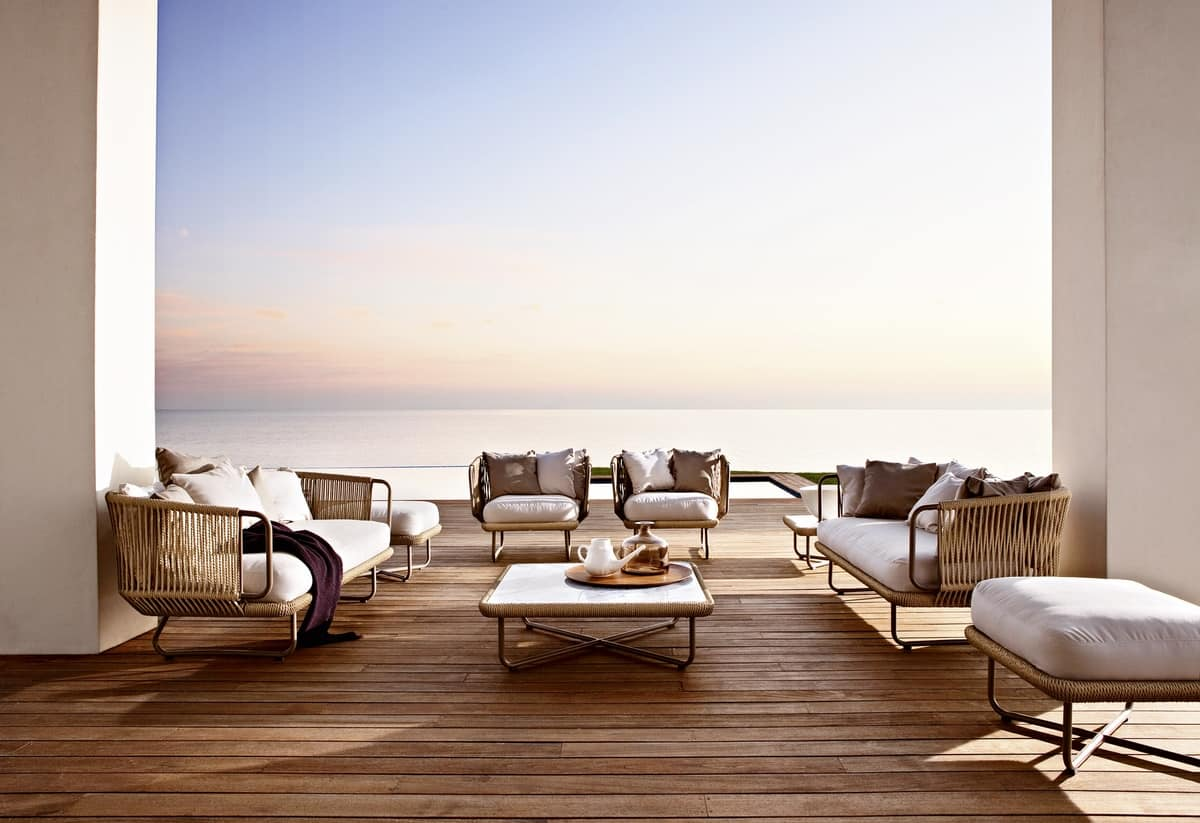 Babylon sofa, Elegant sofa, in aluminum and rope, for outdoors
