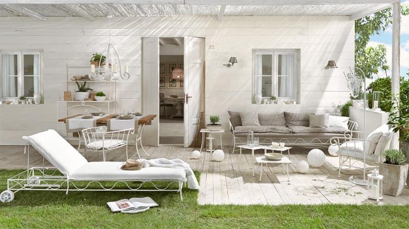 Bahamas sofa, Outdoor sofa, base metal, covered in linen