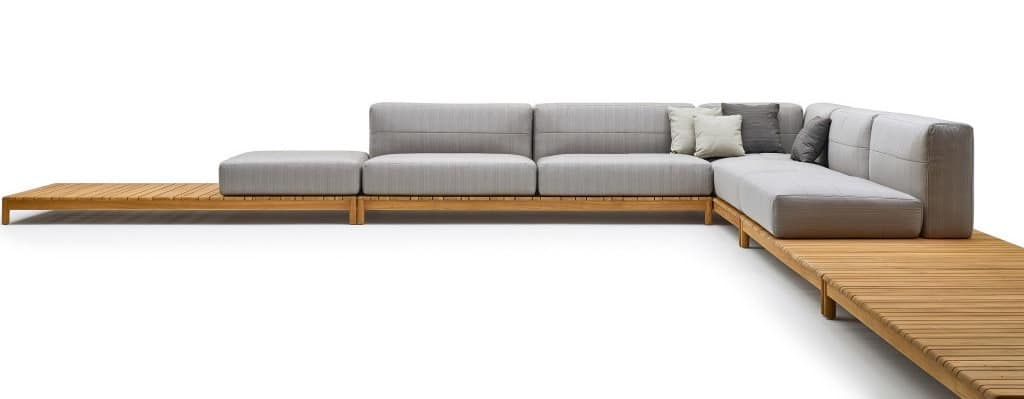 Barcode modular sofa, Sectional sofa made of solid wood, with upholstered elements