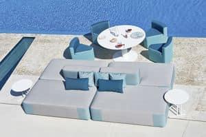 Belt modular sofa, Modular sofa upholstered, in okum� wood, for outdoor
