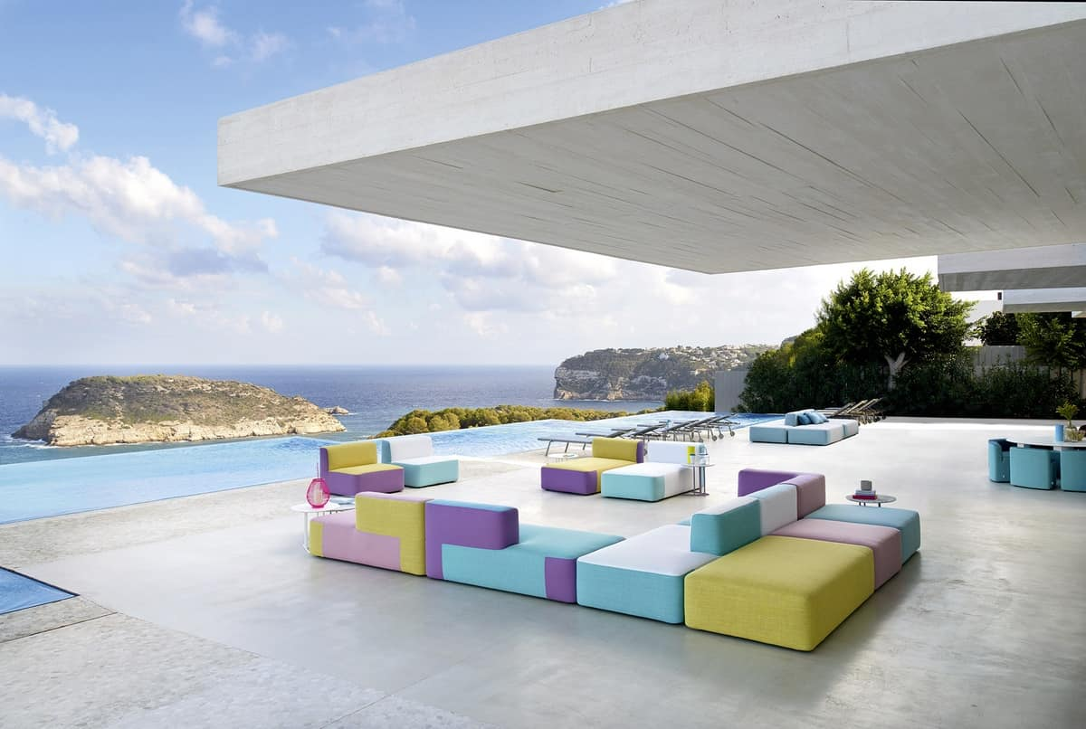 Belt modular sofa, Modular sofa upholstered, in okumè wood, for outdoor