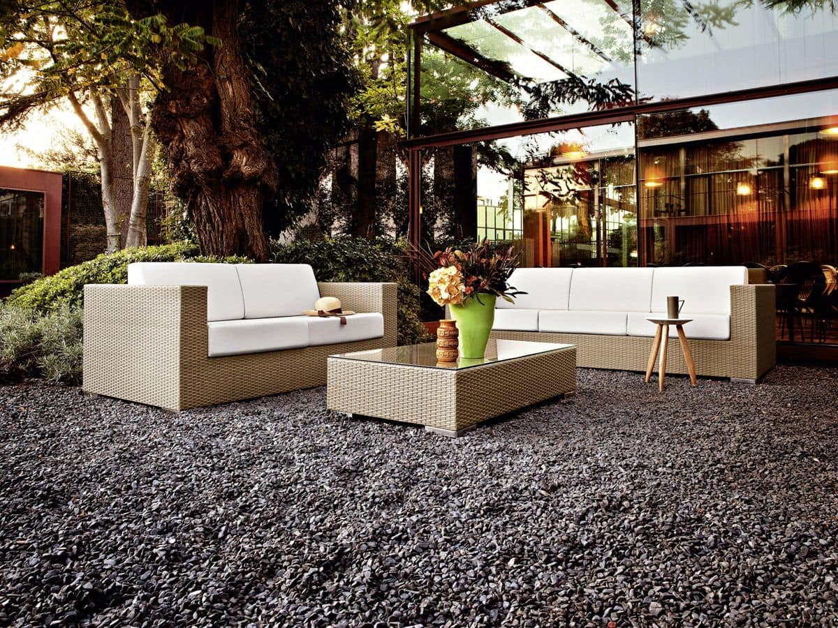 Cora sofa 3p, Woven 3 seater sofa, for beach bar and lounges