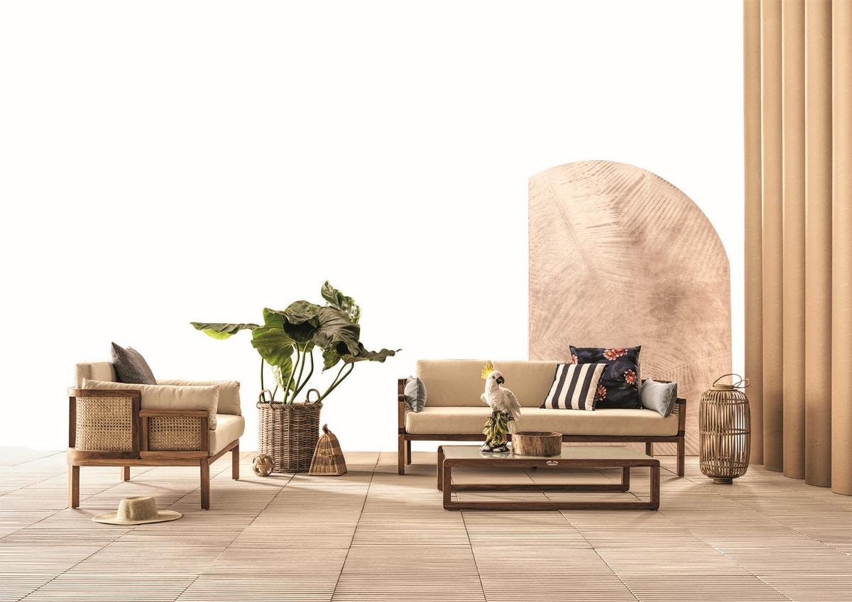 Dual 0286, Teak wood sofa with Vienna straw woven