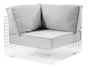 Grid corner, Angular steel armchair, ideal for outdoor use