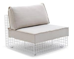 Grid armchair, Armchair in steel rod, modular, for outdoor use
