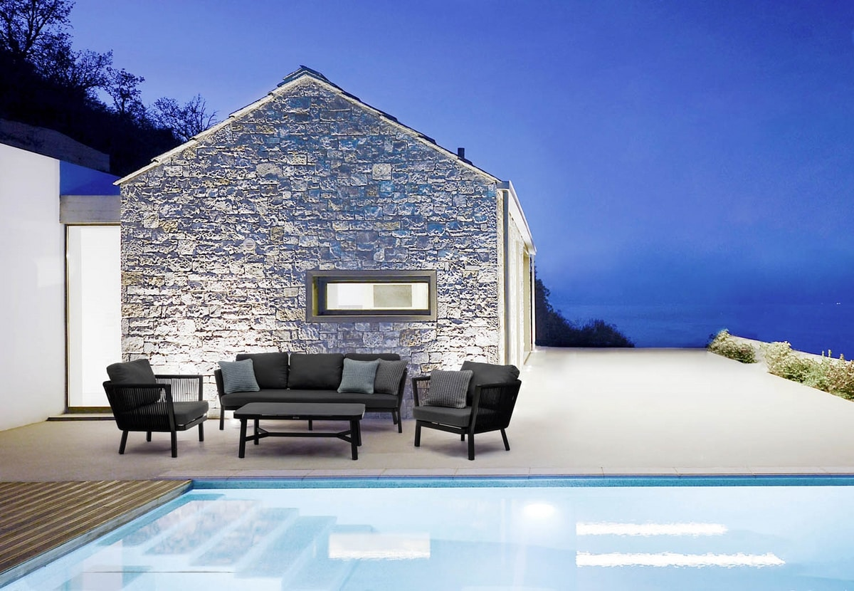 GUITAR, Outdoor sofa, cushions with removable cover