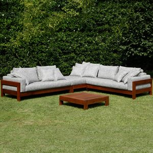 Kuba Outdoor, Modular sofa in wood for outdoors