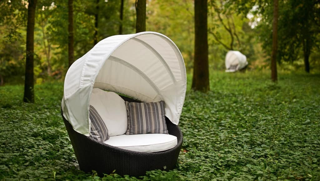 Miniarena swivel round sofa, Circular sofa, swivel, woven, for outside