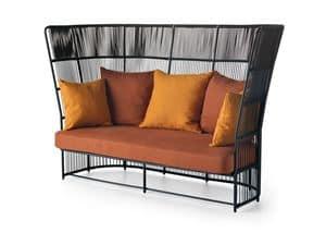 Tibidabo high sofa, Elegant outdoor sofa, with woven high-backrest
