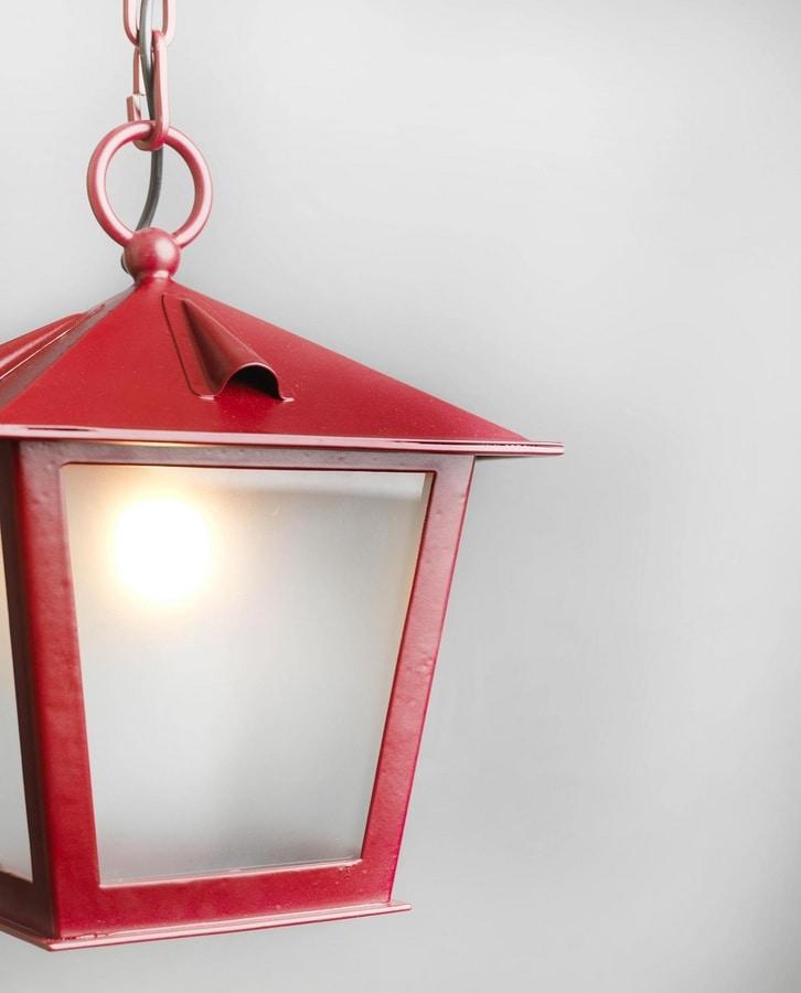 TOSCANA GL3029CH-1, Chain lantern in red iron