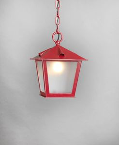 TOSCANA GL3029CH-1, Chain lantern in red iron