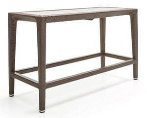 Altea counter, High table in woven fiber, aluminum frame