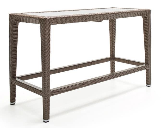 Altea counter, High table in woven fiber, aluminum frame