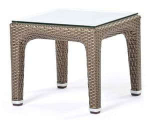 Altea side table 1, Low woven coffee table, glass top, for outside